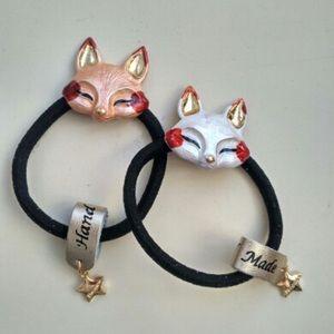 Two Handmade Fox Hair Tyes